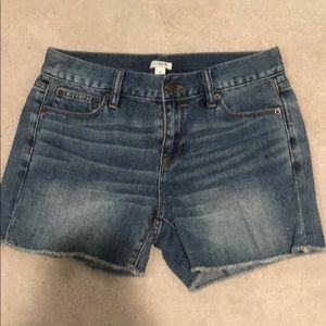 Jcrew mid rise jean shorts
